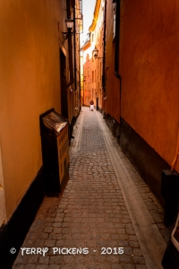 Gamla Stan, a typical street scene of the Old Town