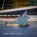 Modern sculpture of sail boat in Oslo Harbor