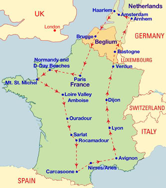 france trip route