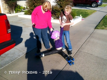 Teaching Audrey to skate
