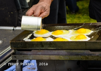Eggs being fried for the burgers, yes please.