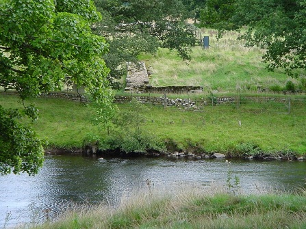 Hadrian's Wall on the opposite bank of the river