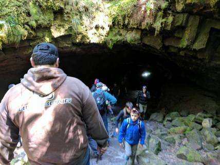Heading down into Ape Cave