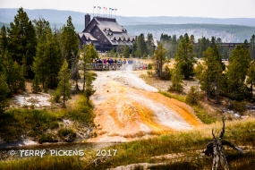 Old Faithful Inn as a backdrop to Geyser Hill