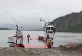 All aboard the ferry across the Yukon River from Google