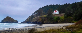 Heceta Head Lighthouse Caretakers cottage from the beach