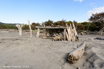 Visitor made wind breaks at Cape Disappointment Campground Beach