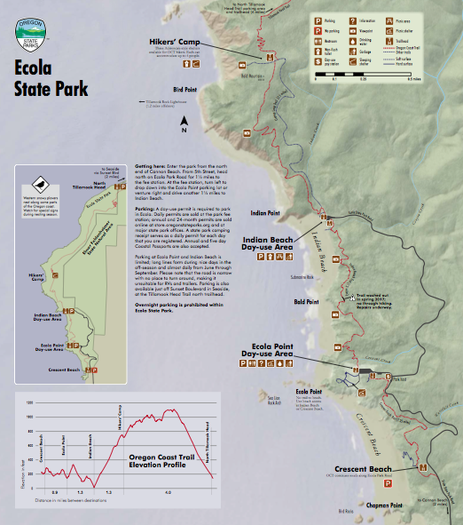 Day 2 Ecola State Park Map