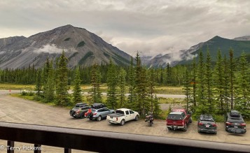 View from room of Northern Rockies Lodge