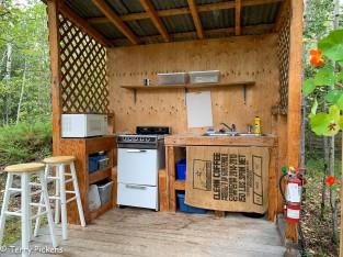 White House Tent Cabin Kitchen area